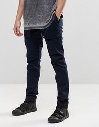 Темно-синие суперзауженные брюки с карманами-карго на пуговицах ASOS