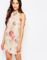 Шифоновое цельнокройное платье с розами Love - Бежевый цветочный принт