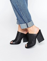 Кожаные сабо на высоком каблуке Selected Femme Sam - Черный