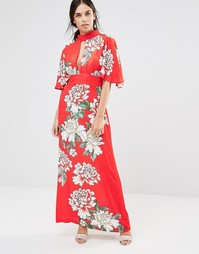 Платье макси с высоким воротом и цветочным принтом Liquorish - Красный