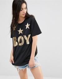 Футболка с тремя звездами Boy London - Черно-золотой