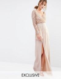 Декорированное платье макси Frock and Frill - Телесный