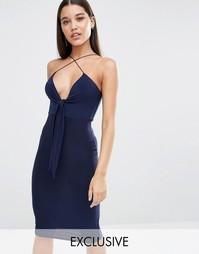 Платье миди с завязкой спереди Club L - Темно-синий