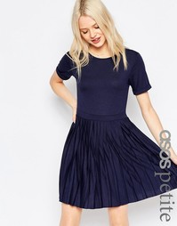 Платье мини с плиссированной юбкой ASOS PETITE - Темно-синий