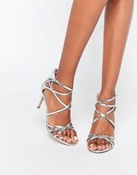 Серебристые сандалии на каблуке с ремешками Head Over Heels By Dune Mi