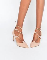 Бежевые туфли на каблуке со шнуровкой Head Over Heels By Dune Calista