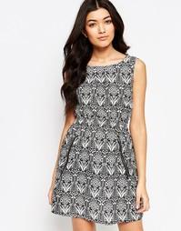 Платье с принтом и молниями Mela Loves London - Кремовый