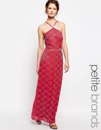 Декорированное платье макси с высокой горловиной Maya Petite - Mauve
