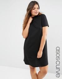 Платье-футболка с высокой горловиной ASOS CURVE - Черный