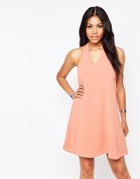 Платье в стиле пэчворк с халтером Glamorous - Пыльно-розовый