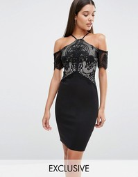 Lipsy Cold Shoulder Lace Mesh Bodycon Dress - Черный
