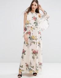Платье макси с цветочным принтом и открытыми плечами ASOS - Мульти