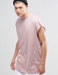 Свободная розовая футболка без рукавов с необработанным краем ASOS