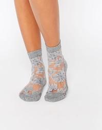 Полупрозрачные носки с цветочным узором и блестками ASOS - Серебряный