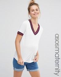 Oversize-футболка для беременных с контрастной отделкой ASOS Maternity