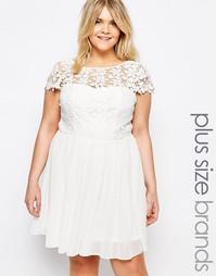 Короткое приталенное платье с топом кроше Club L - Белый