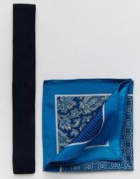 Темно-синий трикотажный галстук и 4‑сторонний платок‑паше ASOS