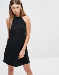 Платье халтер в рубчик с завязкой сзади Fashion Union - Черный