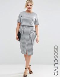 Двуслойное платье в полоску ASOS CURVE - Полоски