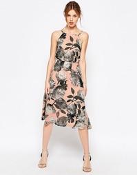Платье с завязкой на шее и принтом Uttam Boutique - Телесный