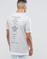 Удлиненная футболка с арабскими надписями сзади и контрастным низом и Asos
