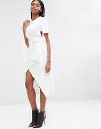 Асимметричная юбка миди с запахом и завязкой спереди Lavish Alice