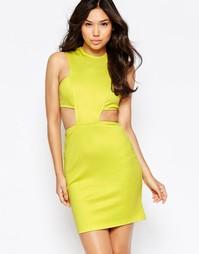 Облегающее платье с вырезом на талии Twin Sister - Зеленовато-желтый