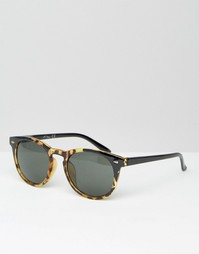 Круглые солнцезащитные очки в черной черепаховой оправе Jeepers Peeper