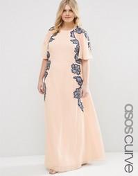 Платье макси с рукавами‑бабочка ASOS CURVE - Телесный
