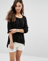 Рубашка с рукавами 3/4 и асимметричным краем Only - Черный