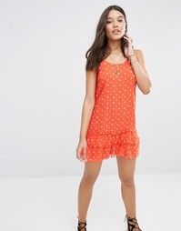Красное шифоновое платье с цветочным принтом Abercrombie & Fitch