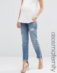 Свободные джинсы бойфренда с вышивкой и потертостями ASOS Maternity Po