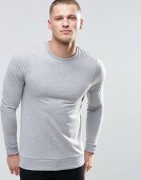 Легкий свитшот с круглым вырезом ASOS - Серый меланж