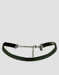 Зеленое бархатное ожерелье-чокер Regal Rose Moss - Зеленый мох
