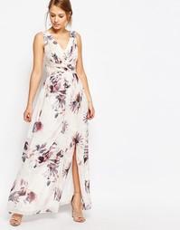 Шифоновое платье макси с цветочным принтом и декольте спереди Little M