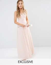 Платье макси с запахом и складками TFNC WEDDING - Телесный