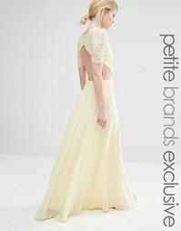 Платье макси с кружевным лифом и вырезами John Zack Petite - Лимонный