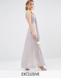 Платье макси на одно плечо TFNC WEDDING - Опаловый серый