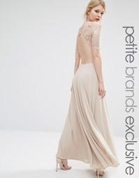 Платье макси с кружевным лифом и вырезами John Zack Petite - Caramac