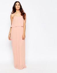 Плиссированное платье макси с накладкой Club L - Nude pink