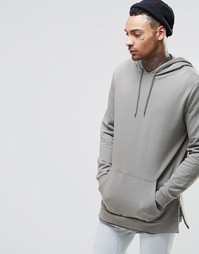 ASOS Longline Hoodie With Side Zips In Washed Khaki - Ветивер