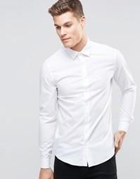 Стретчевая рубашка суперзауженного кроя Calvin Klein - Белый