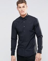 Стретчевая рубашка суперзауженного кроя Calvin Klein - Черный