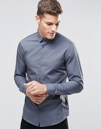 Стретчевая рубашка суперзауженного кроя Calvin Klein - Темно-серый