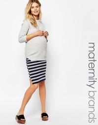 Трикотажная юбка в полоску для беременных Mamalicious - Мульти Mama.Licious