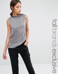 Блузка с высокой горловиной Y.A.S Tall Freja - Серый