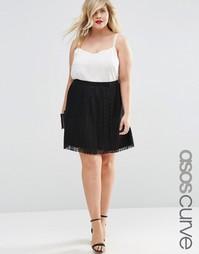 Плиссированная кружевная юбка мини ASOS CURVE - Черный