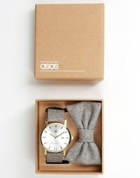 Набор из часов и галстука-бабочки серого цвета ASOS - Серый