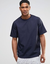 Темно-синяя перфорированная футболка ASOS - Темно-синий