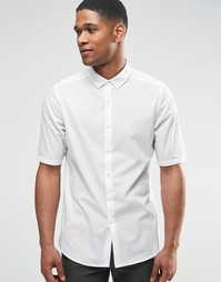 ASOS Perforated Shirt In White With Button Down Collar In Regular Fit